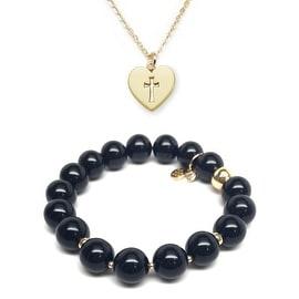 Black Onyx Bracelet & Cross Heart Gold Charm Necklace Set