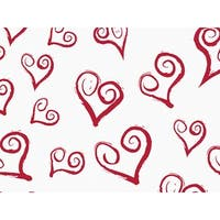"Pack Of 120, Curly Swirly Hearts Tissue Paper 120"" x 30"" Half Ream Made In Usa"