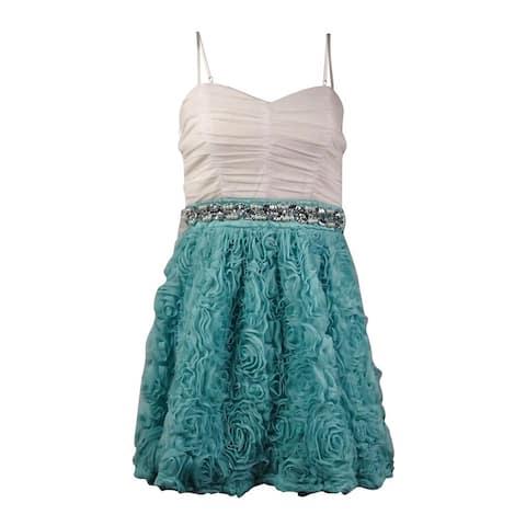 Trixxi Juniors' Belted Rosette Spaghetti Mesh Dress (3, Mint/Ivory) - Mint/Ivory - 3