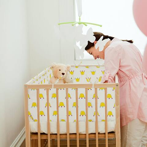 "Orvisinc Cotton 2-Piece Nursery Crib Bumper Pads Cribs Padded Liner - Size: 2-Piece, 117cm(L) x 33cm(H)/46"" L x 12"" H."