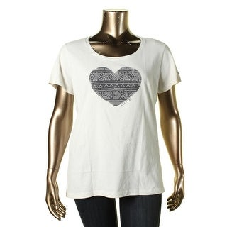 Life is good Womens Scoop Neck Tribal Stitch Heart Graphic Tee