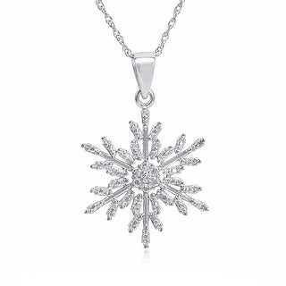 Diamond Snowflake Pendant - Necklace in Sterling Silver on an 18 inch Chain