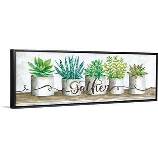 """""""Gather Succulent Pots"""" Black Float Frame Canvas Art"""