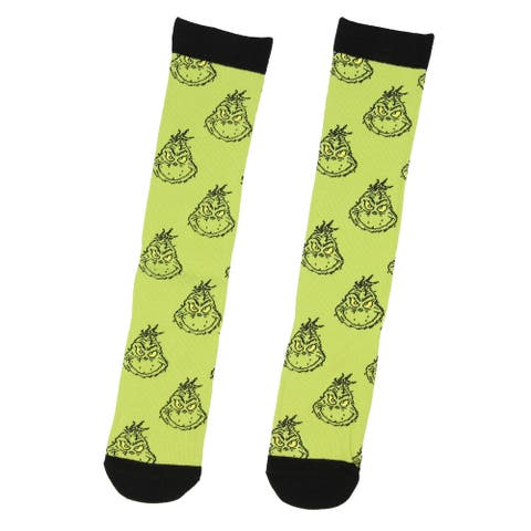 Dr Seuss Womens' The Grinch Head Stack Adult Holiday Knee High Socks