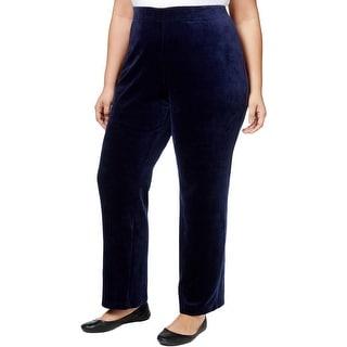 Karen Scott Womens Plus Velour Pants Textured Flat Front - 2x