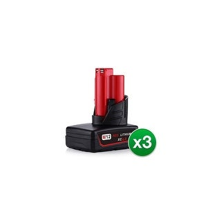 Replacement 6000mAh Battery for Milwaukee 2402-20 / 2432-22 / 2456-21 Power Tools (3 Pk)