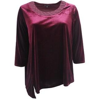 Women - Plus Size Asymmetrical Velvet Sweater Winter Fall Tee Knit Top Wine