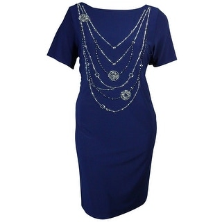 Onyx Nite Women's Jeweled Short Sleeves Jersey Dress