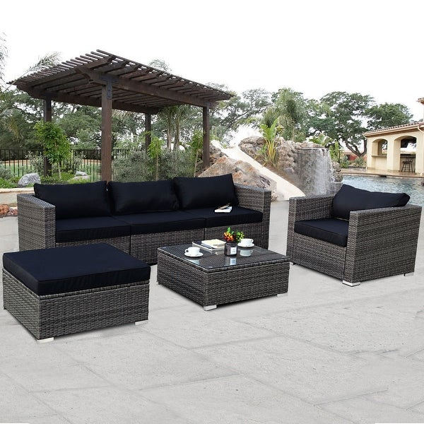 shop costway 6 piece rattan wicker patio furniture set sectional sofa couch yard w black cushion. Black Bedroom Furniture Sets. Home Design Ideas