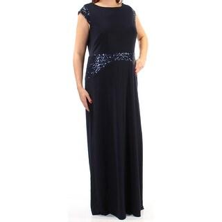Womens Navy Cap Sleeve Full Length Shift Formal Dress Size: 14W