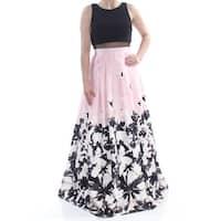 AQUA Womens Pink Zippered Pleated Sheer Floral Sleeveless Jewel Neck Full-Length Prom Dress  Size: 6