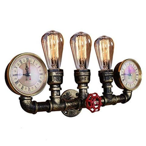 Industrial steampunk pipe wall light fixture with 3 light