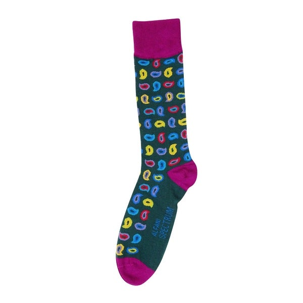 Alfani Men's Spectrum Paisley Crew Socks (10-13, Spruce) - Spruce - 10-13