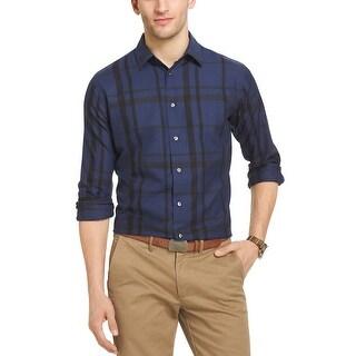 Van Heusen Wide Plaid Long Sleeve Shirt Blue Black Iris X-Large