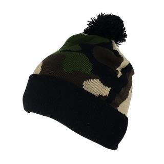 CapRobot Winter Fashion Skater Pom Cuff Knit Beanie - Woodland Camo Black