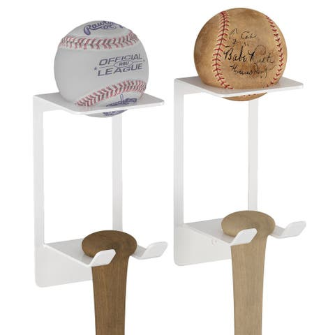 Steel Baseball Display Case, Bat and Ball Holder for Man Cave Wall Decor (Set of 2)