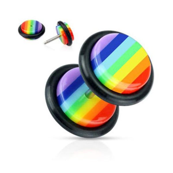 Rainbow Striped Acrylic Fake Plug with O-Ring (Sold Individually)