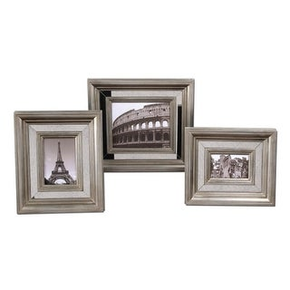 Set of 3 Antiqued Mirror and Silver Finish 4x6 5x7 8x10 Photo Picture Frames
