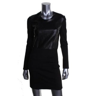 Helmut Lang Womens Ponte Leather Party Dress - M