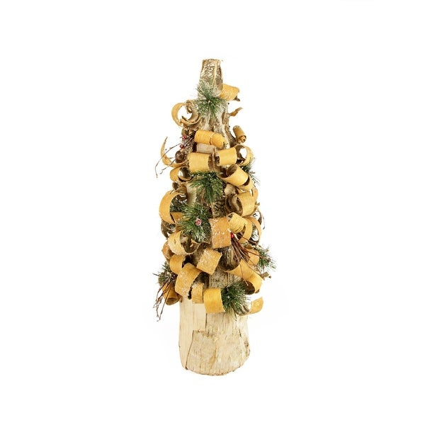 """23"""" Rustic Tree Bark Inspired Flocked Table Top Christmas Cone Tree with Pine and Berries - brown"""