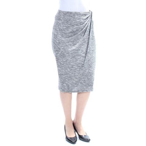 BAR III Womens Gray Gathered Below The Knee Pencil Wear To Work Skirt Size: S