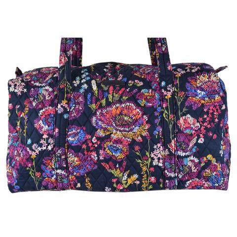 Vera Bradley MIDNIGHT WILDFLOWERS Small Duffle Weekender Purse Bag