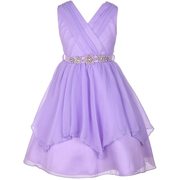 d5fdacfb372 Shop Flower Girl Dress V-Neck Chiffon Triple Layer Stone Belt Lilac JKS  2068 - Free Shipping On Orders Over  45 - Overstock - 17752364