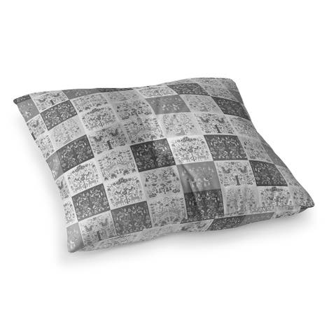 SCANDINAVIAN PATCHWORK GREYSCALE Floor Pillow by Kavka Designs