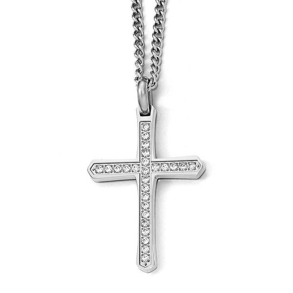 Chisel Stainless Steel CZ Cross Necklace - 24 in