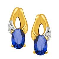 3/4 ct Created Sapphire Earrings with Diamonds in 10K Gold - Blue