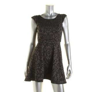 Emerald Sundae Womens Juniors Casual Dress Pattern Faux Leather Trim