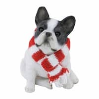 Brindle French Bulldog With Red And White Scarf Christmas Ornament