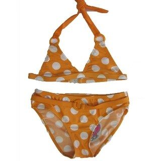 2B Real Little Girls Orange White Polka Dot Print 2Pc Bikini Swimsuit