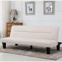 Belleze Convertible Futon Bed Sofa Couch Lounger Microfiber - Vanilla