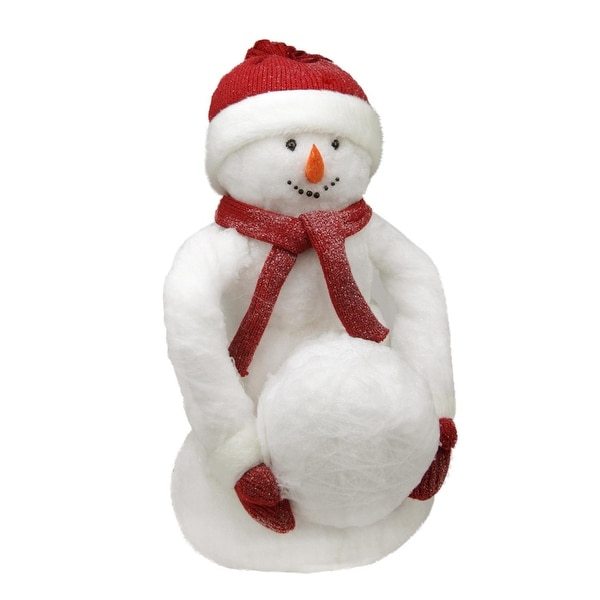 "21"" White Fluffy Sparkling Glittered Plush Snowman Holding Snowball Christmas Decoration"