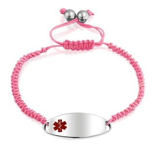 Bling Jewelry Steel Pink Enamel Oval Medical ID Tag Adjustable Bracelet