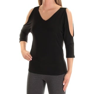 Womens Black 3/4 Sleeve V Neck Casual Top Size S