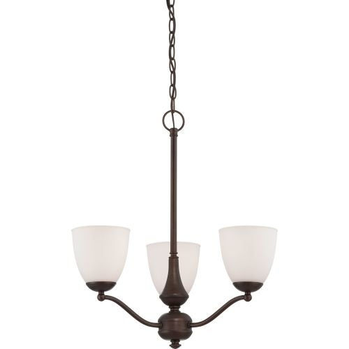 Nuvo Lighting 60/5156 Patton ES Three-Light Single-Tier Chandelier with Frosted Glass Shades
