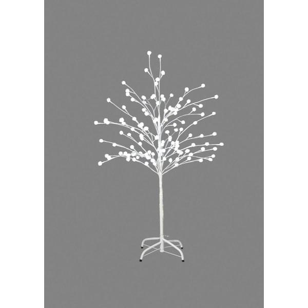 "50"" Lighted White Pom Pom Tree Christmas Decoration - Pure White LED Lights"