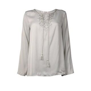 Studio M Women's Peasant Lace Up Blouse - Soft Grey