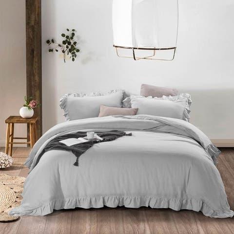 Ruffled Linen Duvet Cover & Pillow Shams Set