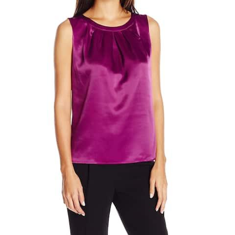 Kasper NEW Purple Women's Size Small S Pleated Neck Tank Cami Blouse