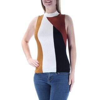BAR III $45 Womens New 1284 Brown Striped Sleeveless Jewel Neck Sweater 2XS B+B