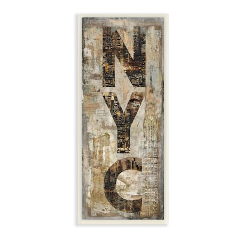 Stupell Industries New York City Montage Collage Photograph Design,7 x 17, Wood Wall Art