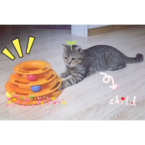 Funny Pet Kitty Cat puppy dog Toy Trilaminar Petstages Tower of Tracks Ball Disk - orange