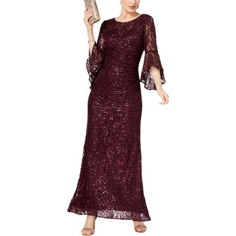 NW Nightway Womens Evening Dress Lace Sequined - Mulberry - 22WP