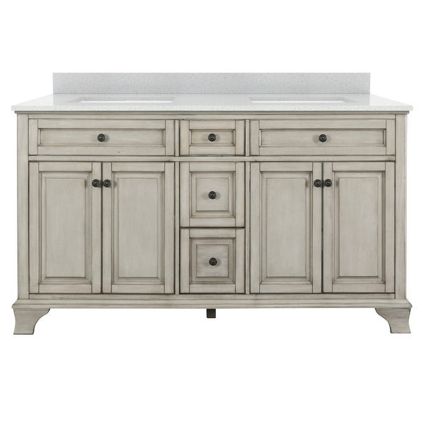 "Miseno MVMORG60 Morgana 60"" Free Standing Double Basin Vanity Set with Wood Cabinet and Stone Vanity Top"