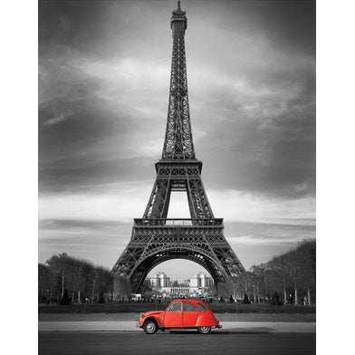 ''Retro Red and the Eiffel Tower'' by Anon Transportation Art Print (36 x 24 in.)