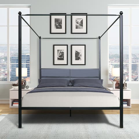 Queen Metal Canopy Bed with Upholstered Headboard
