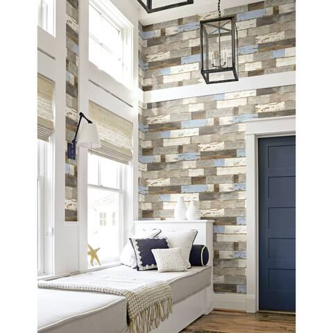 NextWall Colorful Shiplap Peel and Stick Removable Wallpaper - 20.5 in. W x 18 ft. L